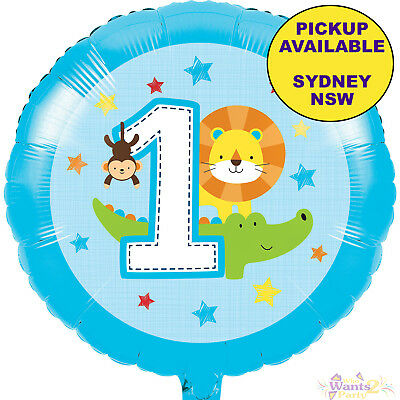 JUNGLE ANIMALS BOYS 1ST BIRTHDAY PARTY SUPPLIES 45cm FOIL BALLOON DECORATIONS