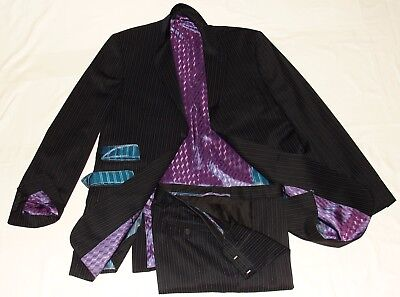 "Men's Ted Baker Endurance Black Striped Designer Suit Uk 42L W36"" Xl32"""