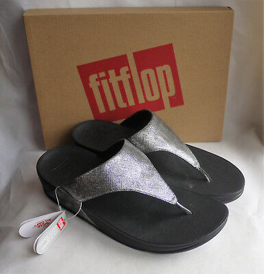 36cce51084a New Fitflop Lulu Toe Thong Sandals Black Shimmer Print ToePost Ladies Box  Size 7