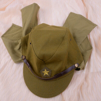 WWII WW2 Japanese Army IJA Soldier Field Wool Cap Hat With Havelock Neck Flap