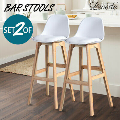 2x Beech Wood Bar Stool Wooden Barstool Dining Chairs Kitchen Counter White AU
