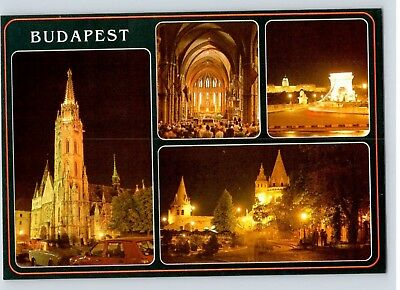BUDAPEST hungary oversized POSTCARD unposted night views