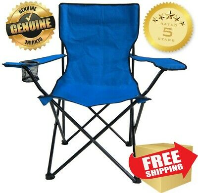 Folding Camping Chair Picnic Beach Outdoor Portable Seat Tail Gate Blue CLOSEOUT