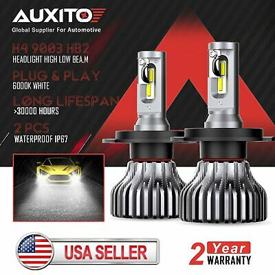 2x Fanless Brightest H4 9003 LED Headlight Kit High Low Beam All In One Bulbs D4