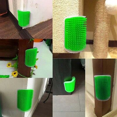 Pet Cat Self Groomer Brush Cleaner Wall Corner Grooming Massager Comb Catnip Toy