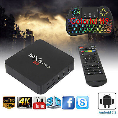 Hot MXQ PRO Smart TV Box Android 7.1 Quad Core WIFI 4K 1+8GB Coloful Keyboard H9
