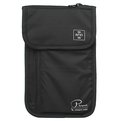 Premium Family Travel Neck Pouch Wallet Safety Passport Holder Men Women, Black