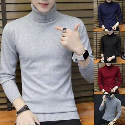 New Fashion Mens Knitted Warm Roll Turtle Neck Pullover Sweater Jumper Tops Lot