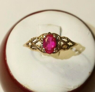 ANTIQUE VICTORIAN 14k GOLD RUBY RING