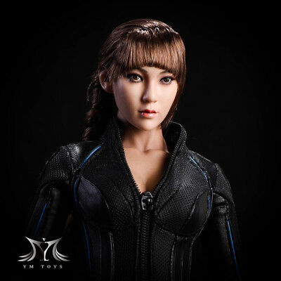 YMTOYS CG CY Girl Asia Female Brown Hair Head 1/6 Fit for PHICEN Tan Body