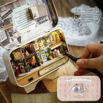 6 Themes DIY Mini Tin Box Theatre Doll House Dollhouse Miniature Kit Toy Gift AU