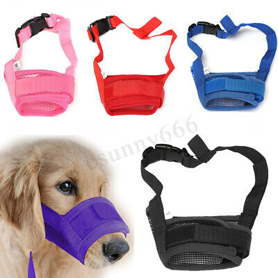 UK Puppy Stop Chewing Barking Muzzle Safety Soft Adjustable Pet Dog Mouth Mask