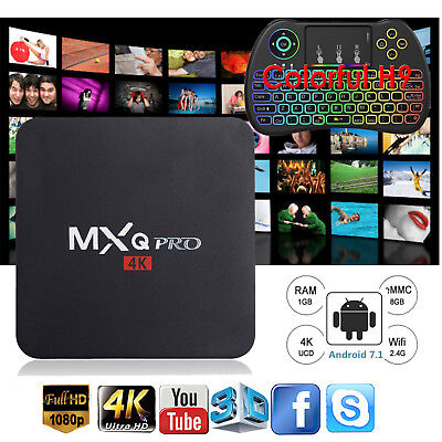 HotMXQPROQuadCoreAndroid7.1TVBoxWIFIFullHDFilms 1+8Gwith Keyboard H9