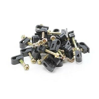 "10 x Single 1"" Black Coax Cable Flex Clips Wall Attach RG6 Mounting TV Wire 1in"