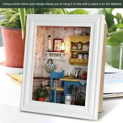 DIY Wood Dollhouse Photo Frame Assemble Kit Miniature Doll House W/ Furniture