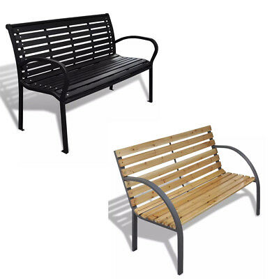 Wooden Garden Bench With Steel Frame Weather-Resistant Sustainable For 2/3 Seats