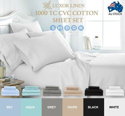 4X 1000TC Ultra SOFT Flat Fitted Sheets Sets S/D/Q/K Size Bed With Pillowcases