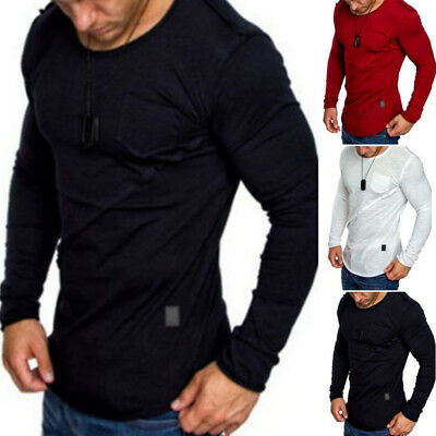 Hot Fashion Men's Slim Fit T-shirt Round Neck Long Sleeve Tee Casual Shirts Tops
