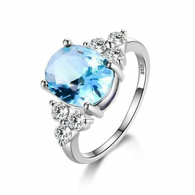 Women Silver Plated Oval Shape Blue Pink Stone Zircon Alloy Wedding Ring