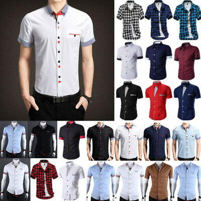 Mens Short Sleeve Button-Front Blouse Slim Business Work Plaid Shirt Casual Tops