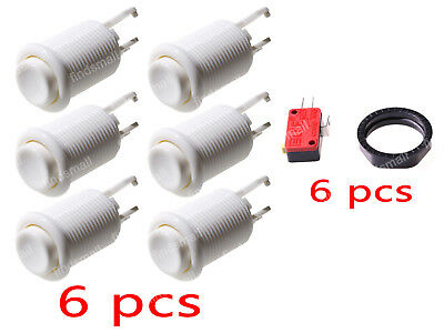 6PCS-White Happ 100 Long Arcade Push Button Color  Multicade For Mame JAMMA