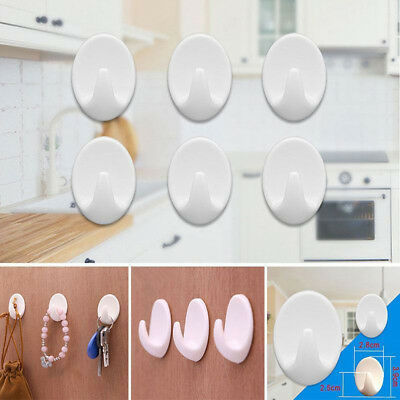 3pcs Removable Self Adhesive Hooks Wall Door Plastic Strong Sticky Hook Holder