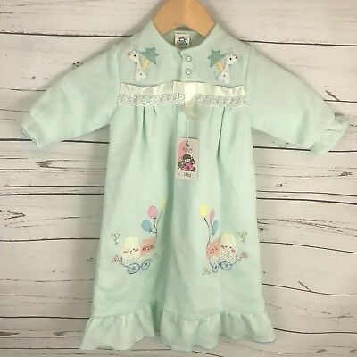 Vintage New Baby Boy Or Girl Day Gown Robe Mint Green Embroidered
