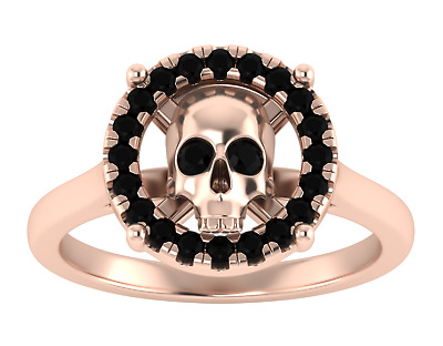 0.80 Ct Black Diamond Halo Halloween Skull Engagement Ring 10k Rose Gold Finish