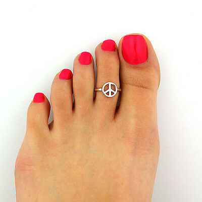 Toe Ring Simple Peace Sign Open Adjustable Foot Beach Jewelry crit