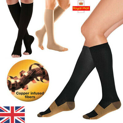 UK Unisex Copper Infused Anti-Fatigue Compression Socks Varicose Vein Stocking