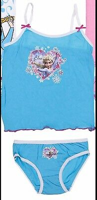 Kids Girls Disney Frozen Elsa Underwear set Blue Vest Brief Age 6-8 Years BNWT