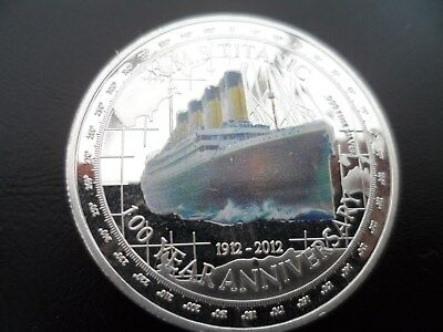 RMS TITANIC  Silver plated/coloured commemorative coin in capsule from TUVALU