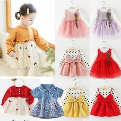Toddler Kids Baby Girls Long Sleeve Tops Lace Princess Tutu Dress Party Fashion
