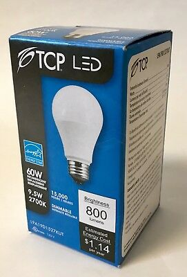 LOT OF 12 - TCP A19 9W (60W Eq) LED 2700K Soft White Dimmable Energy Star