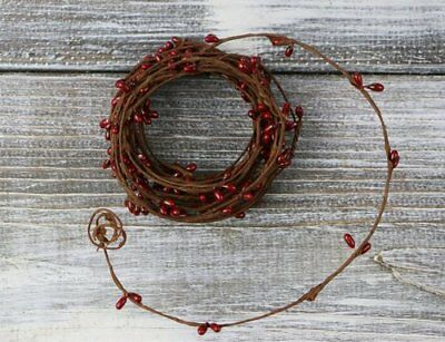 Country Primitive Rustic 18' Single Strand Pip Berry Garland Red
