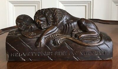 Large Grand Tour Carved Wood Lion Of Lucerne, 19th/early 20th Century. 23cm Wide