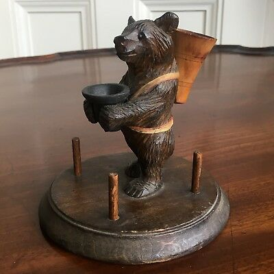A Charming Black Forest Carved Wood Bear Sewing Compendium, 12cm High.