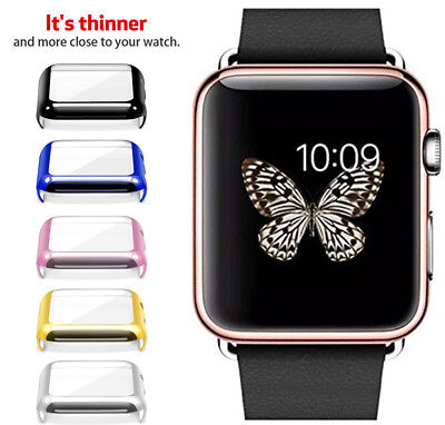 Plating Hard TPU Case Cover Screen Protector Bumper For Apple Watch 2 3 4 Gen