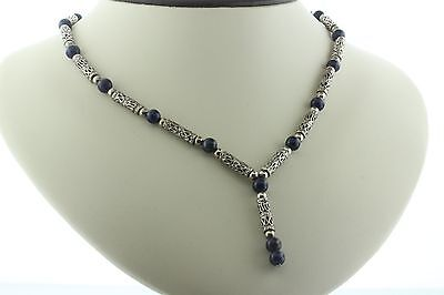 """Vintage Bali Scroll Link Sterling Silver Lapis Beaded Lariat Drop Necklace - 17"""""""