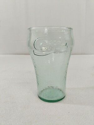 Large Vintage Textured Coca Cola Glass Green Tint i12