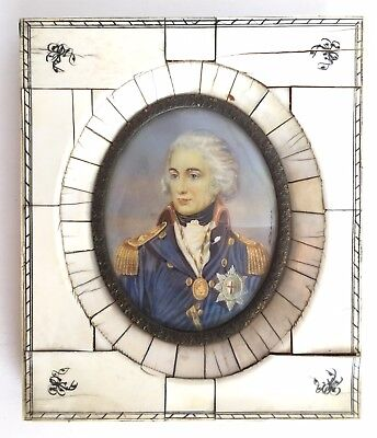 Antique Early 19th Century Painted Miniature Portrait Lord Horatio Nelson Signed