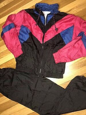 90s VTG Marina Bay Full Zip Track Suit Nylon Jacket Pants Warm Ups Medium Retro