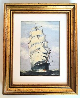 Vintage Ship Seascape Oil Painting on Board signed Emile A Gruppe