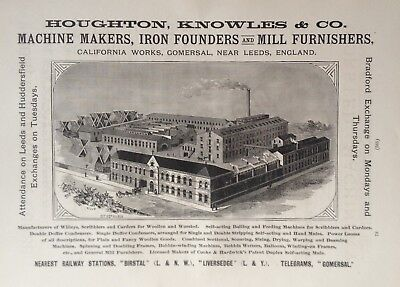 1890 Ad(H23)~Houghton, Knowles & Co. Gomersal, England. Iron Foundry