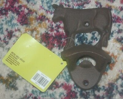 "Rustic 5"" Cast Iron ""Dairy Cow"" Bottle Opener Wall Mount Country Farm Decor"