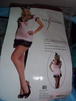 2d492ccf96696 HALLOWEEN Womens Leg Avenue Pink & Black Sexy 3 pc kitty Costume Size M/L