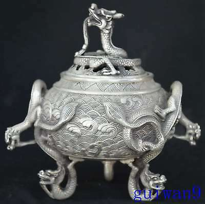 Collectable Chinese Miao Silver Carve Tibet Royal Old Souvenir Incense Burner