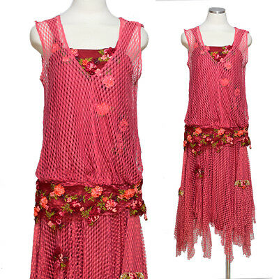 Vintage 20s Style Dress Red Lace Theater Costume Flapper 1920s M