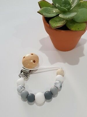 Silicone beaded dummy clip pacifier chain soother holder. Monochrome grey