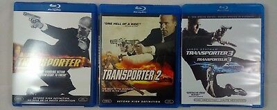 LOT OF 3 ACTION MOVIES: THE TRANSPORTER 1-3 -Blu Ray